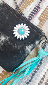 Black & White Cowhide Leather Handbag Purse with Daisy Embellishment