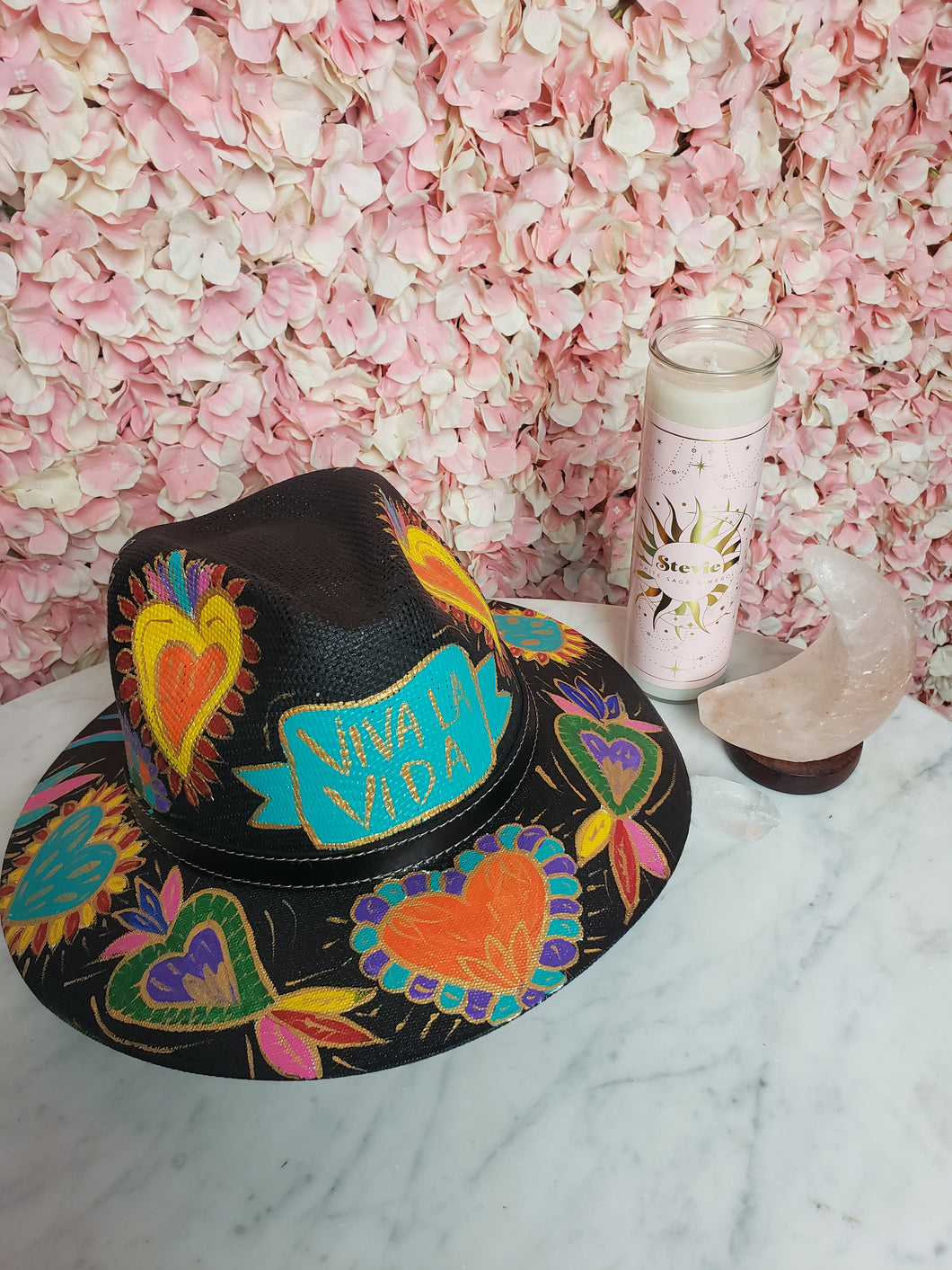 Hand Painted Black Straw Hat - Viva la Vida