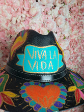 Load image into Gallery viewer, Hand Painted Black Straw Hat - Viva la Vida