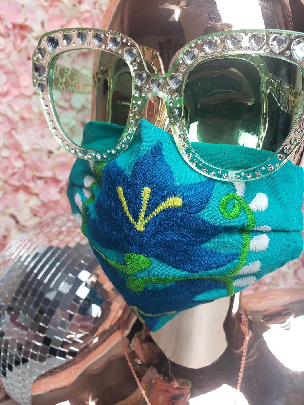 Teel, Navy, Green & White Floral Embroidery Mask