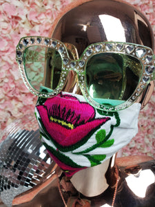 Pink & White Floral Embroidery Mask