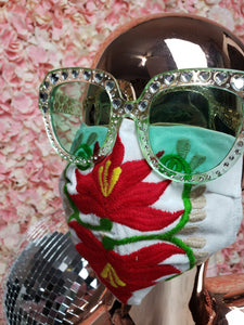 Red & White Floral Embroidery Mask