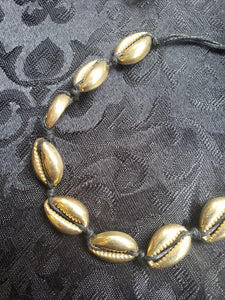 Black & Gold Cowry Seashell Choker