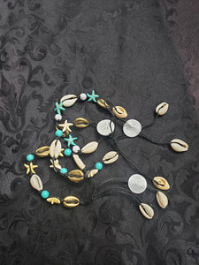 Mermaid Starfish Gold & Turquoise Cowrie Seashell Anklet