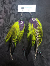 Load image into Gallery viewer, Witchy Lime Green & Purple Feather Earrings with Crescent Moon + Star Charms