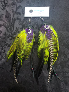 Witchy Lime Green & Purple Feather Earrings with Crescent Moon + Star Charms