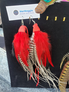 Large Red & Long Grizzly Feather Boho Feather Leather Earrings