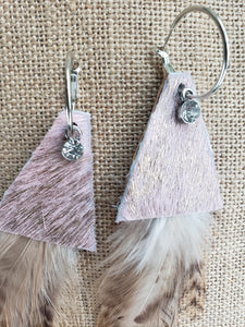 Small Natural Feathers Rose Gold Cowhide Earrings