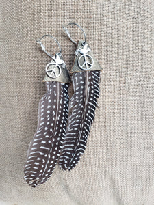 Single Black & White Guinea Feather + Leather Hoop Earrings