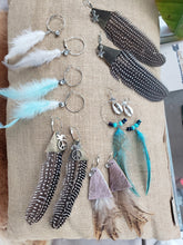 Load image into Gallery viewer, Single Black & White Guinea Feather + Leather Hoop Earrings