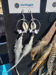 Lavender & White Feather Silver Cowry Shell Hoop Earrings