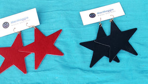 Genuine Leather Cowhide Star Earrings