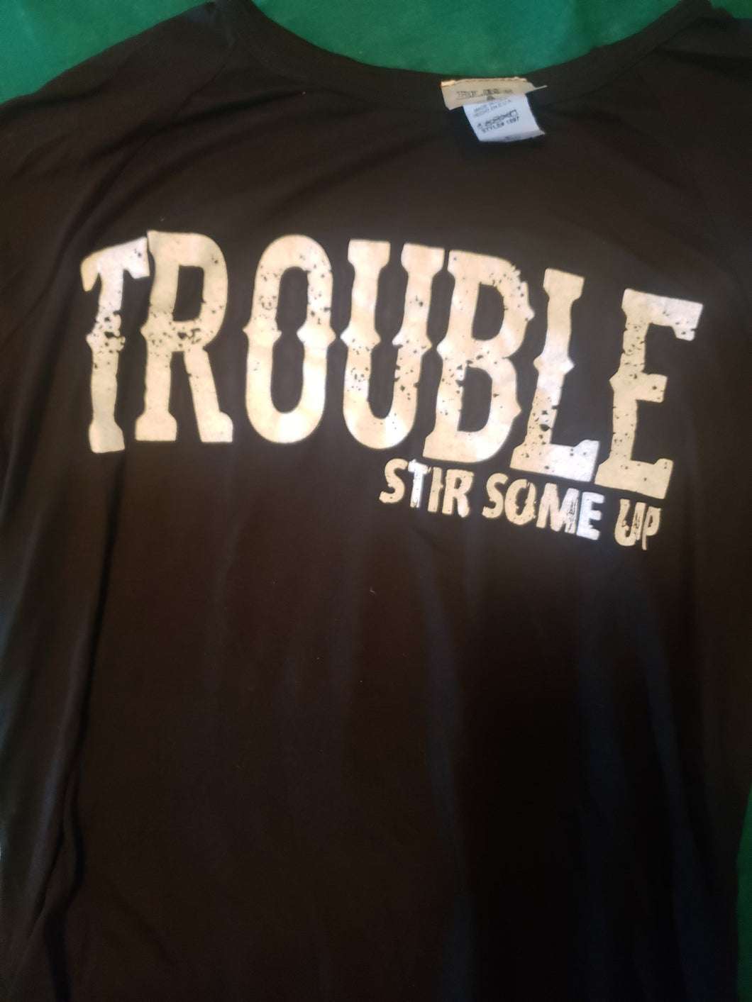 Trouble Black & White Graphic Soft Tee