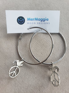 Peace Sign Dove Charmed Large Silver Hoop Earrings
