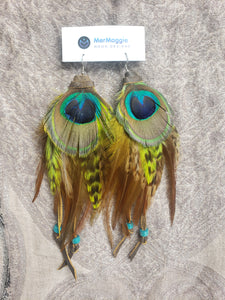 Lime Green & Natural Peacock Feather with Leather Boho Earrings