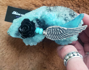 Baby Blue Crystal Raccoon Small Skull