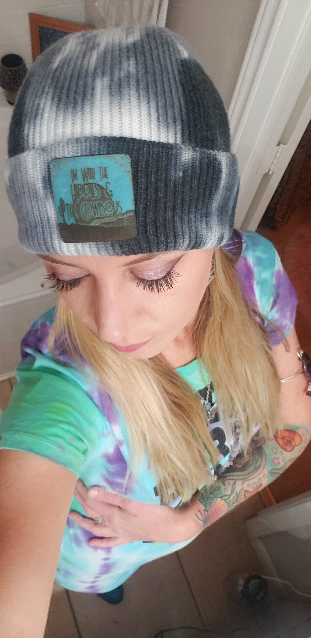 Hippies & Cowboys Tie Dye Beanie with Patch