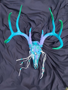 Marble Painted + Labradorite Crystal White Tail Deer Skull - Home Decor