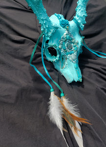 Baby Blue Amazonite Crystal Mule Deer Skull - Home Decor