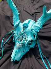 Load image into Gallery viewer, Baby Blue Amazonite Crystal Mule Deer Skull - Home Decor