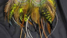 Load image into Gallery viewer, Black, Brown, Rooster, Lime Green, & Peacock Feather Boho Earrings