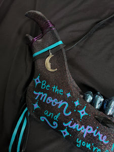 Hand Painted Moon Quote Cow Jawbone - Home Decor