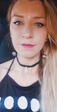 Load and play video in Gallery viewer, Citrine Crystal on Genuine Black Leather Choker