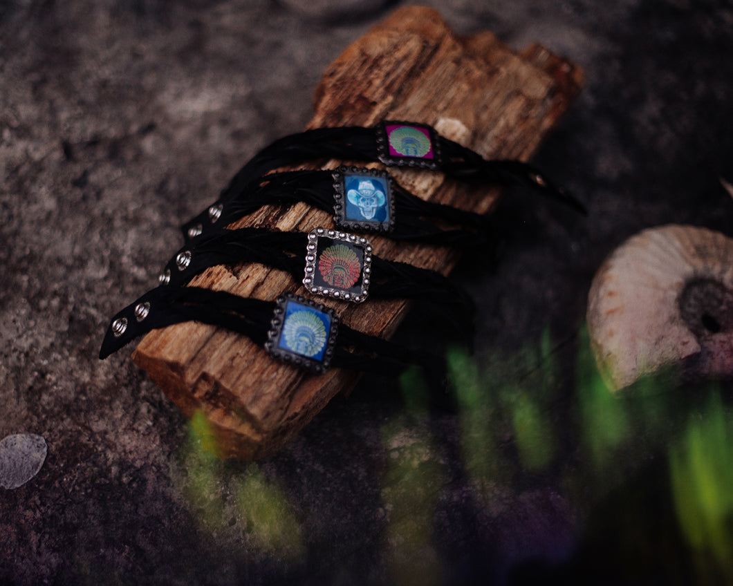 Psychedelic Skull Indian on Black Twisted Leather Bracelet