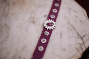 Electric Crazy Daisies on Purple Leather Bracelet