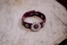 Load image into Gallery viewer, Electric Crazy Daisies on Purple Leather Bracelet