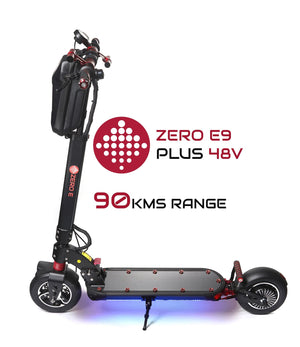 Zero E9 Plus Escooter side view with LED Deck Lighting on
