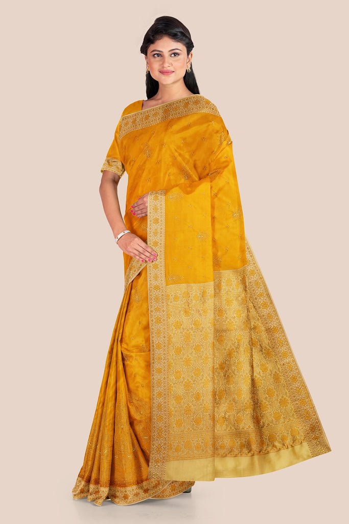 SUNRISE YELLOW WOVEN CHANDERI SILK SAREE WITH CONTRAST BORDER AND EMBROIDARY