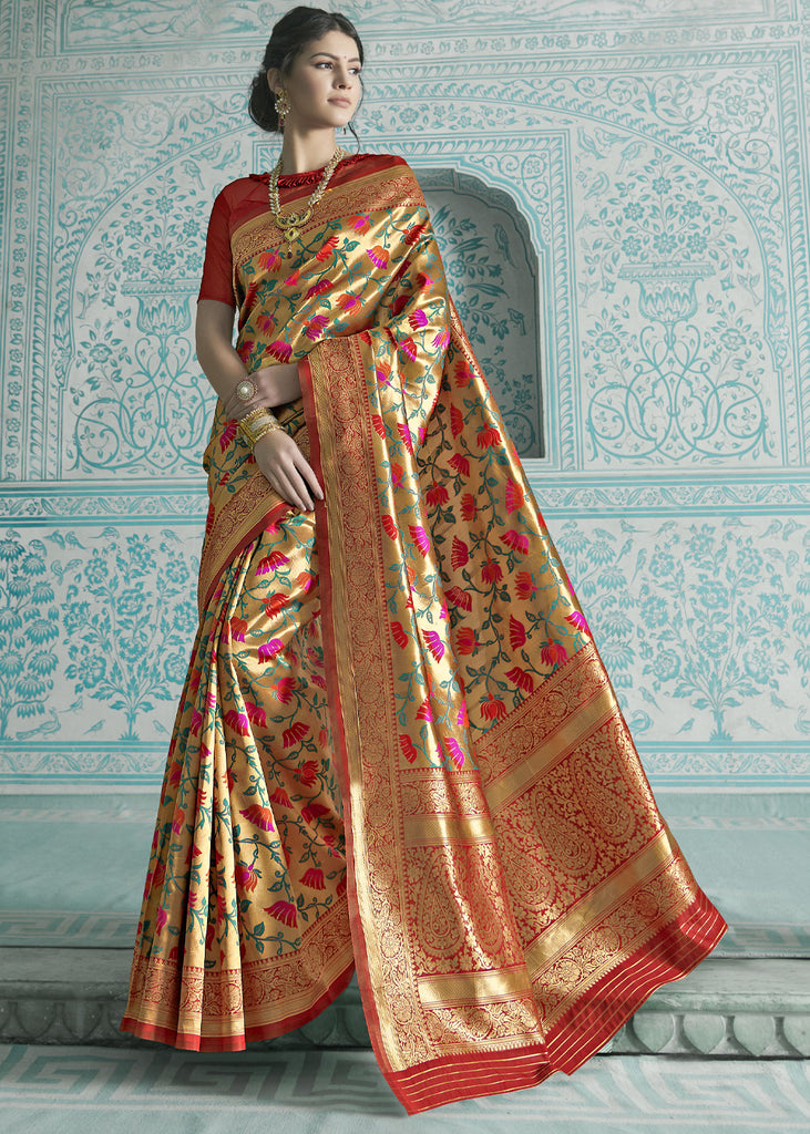GOLDEN RED WOVEN PAITHANI ZARI SAREE
