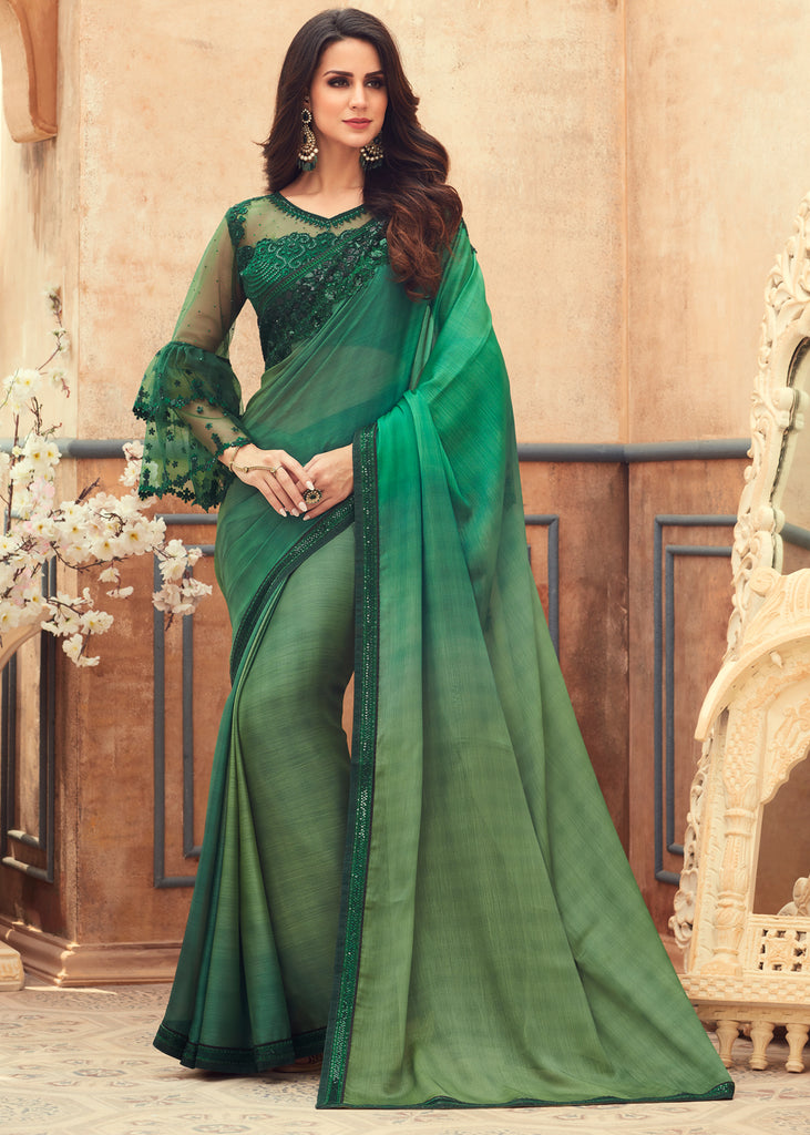 EMERALD GREEN SHADED DESIGNER CHIFFON SAREE WITH EMBROIDARY