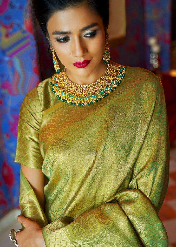 Olive Green And Gold Woven Kanjivaram Saree