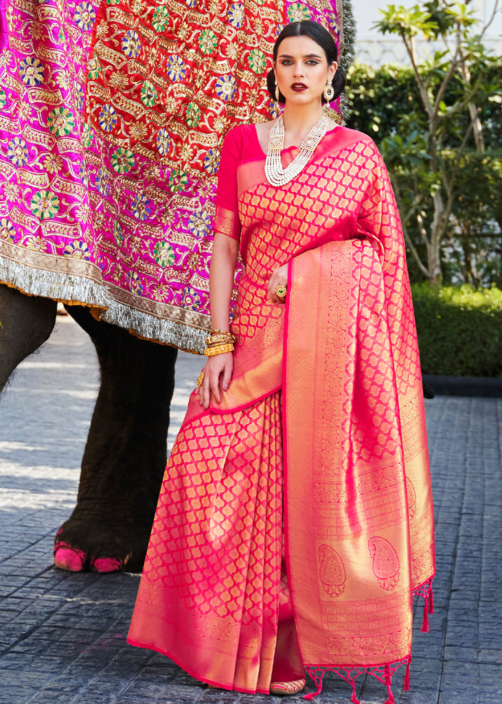 Ceremonial ROYAL Pink  Woven Kanjivaram Saree