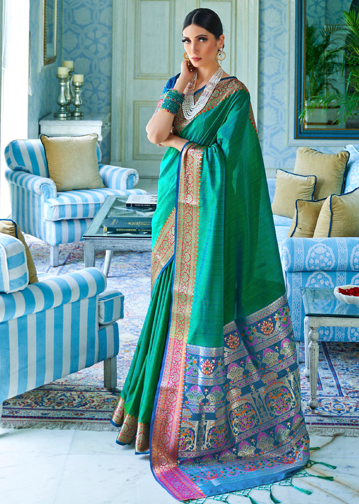 Extra 10% Off: Emerald Green  Raw Silk Woven Saree