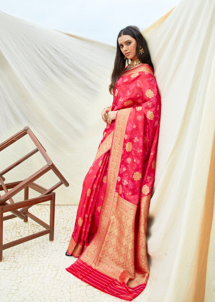 Graceful Pink Red Woven Saree