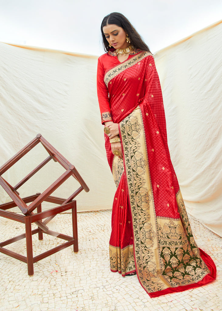 Formula One Red Woven Banarasi Saree
