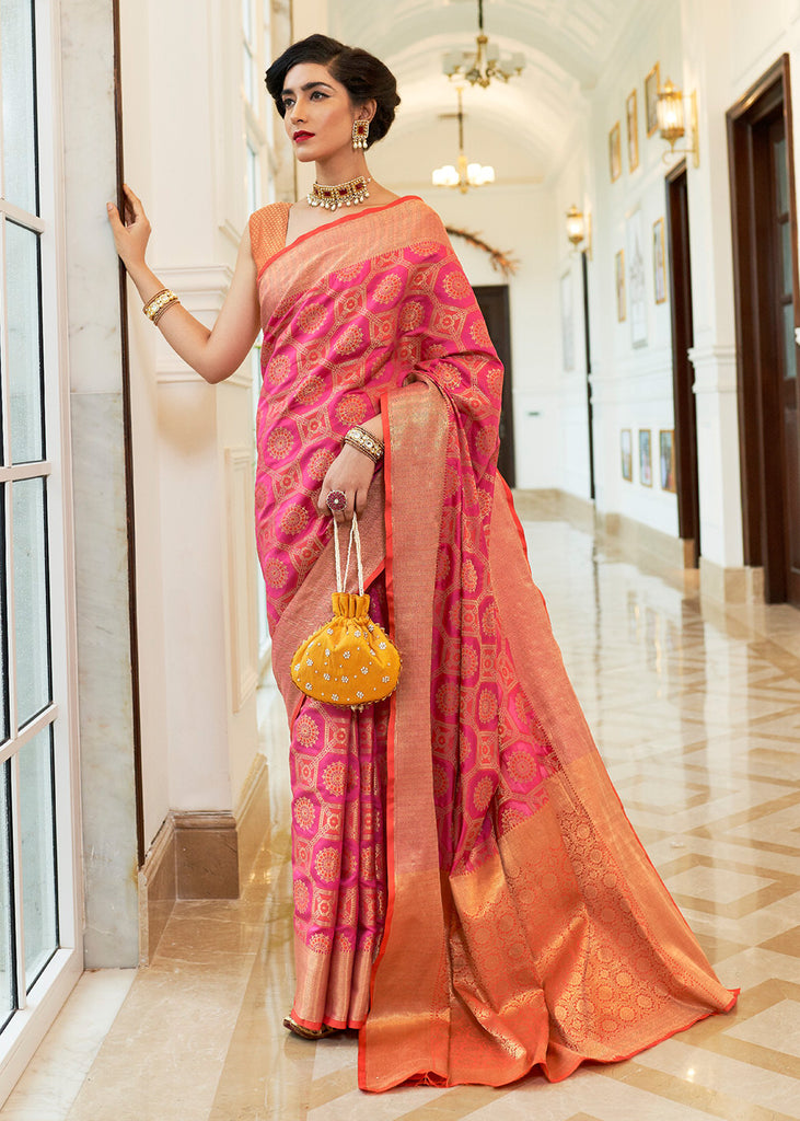 Striking Pink Woven Banarasi Saree With Brocade Blouse
