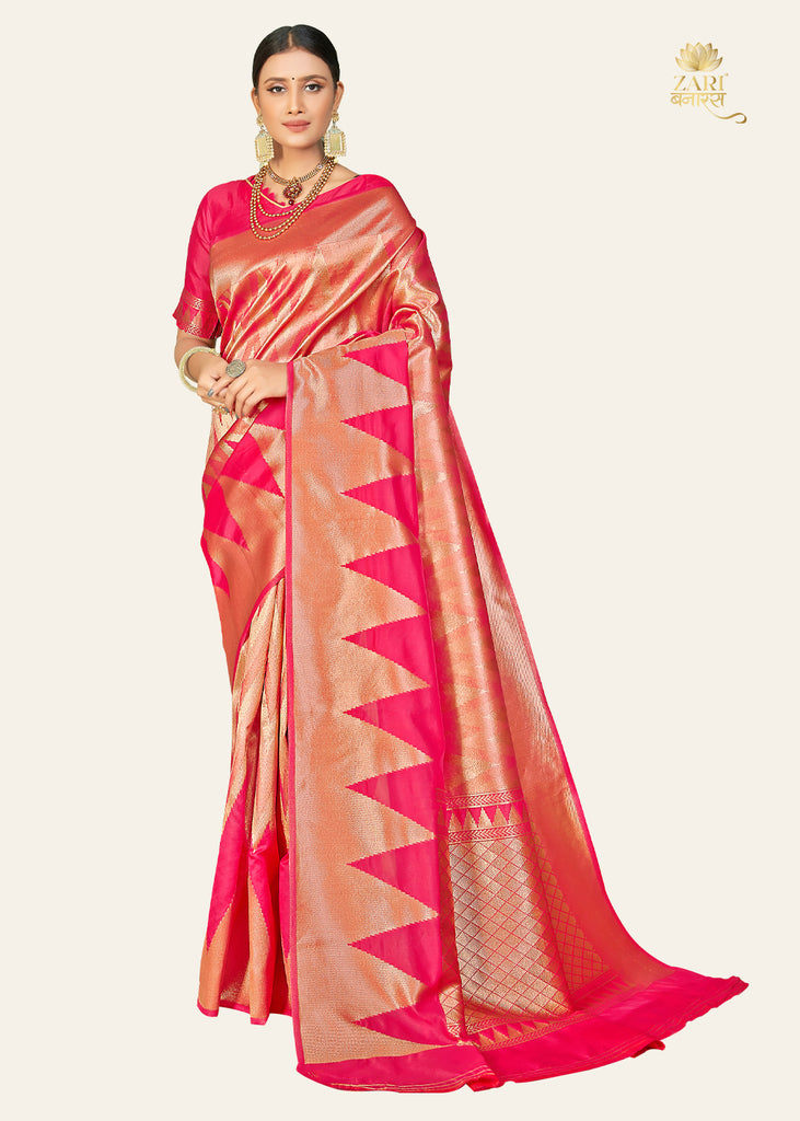 FESTIVE PINK TEMPLE BORDER KANCHIPURAM ZARI SAREE