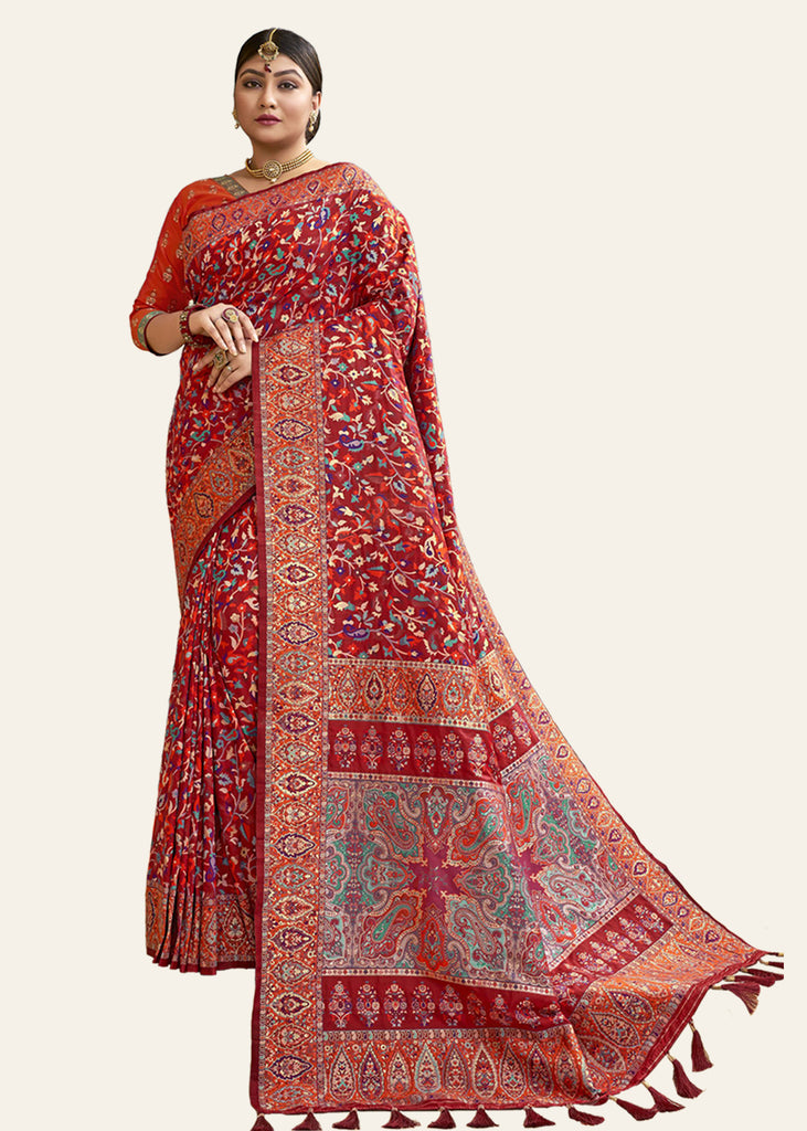 MAROON RED JAMEWAR SAREE ALLOVER WEAVED