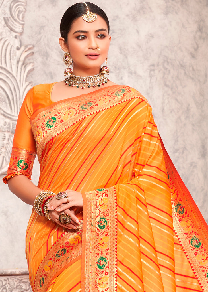 SAFFRON ORANGE WOVEN BANARASI SILK SAREE WITH  HEAVY EMBROIDARY