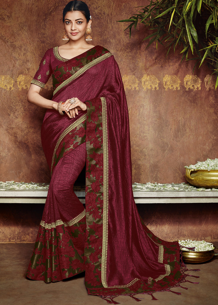 CLASSIC MAROON DESIGNER SAREE WITH EMBROIDARY