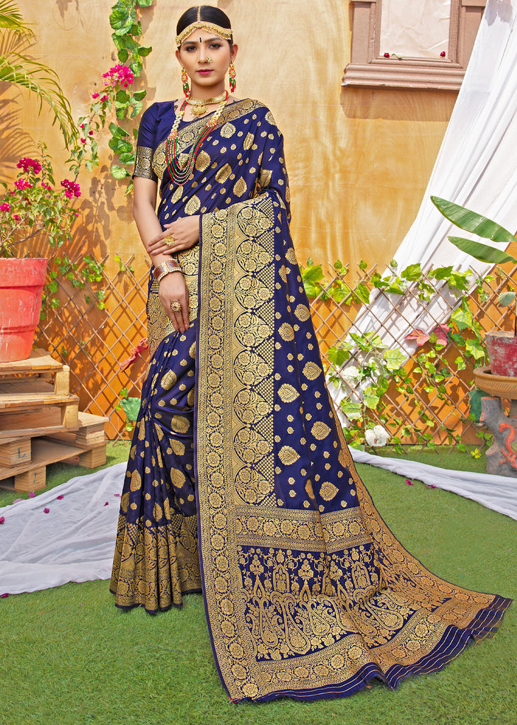 ROYAL GOLDEN BLUE WOVEN BANARASI SILK SAREE