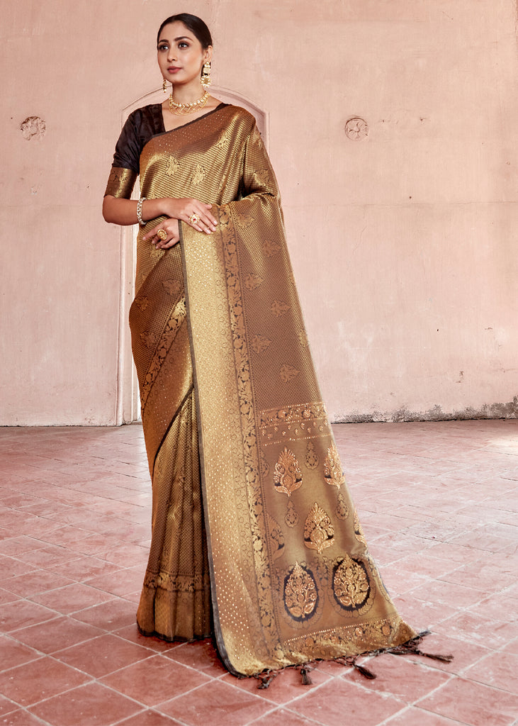 GOLDEN BROWN KANJIVARAM SAREE WITH SWAROVSKI CRYSTALS