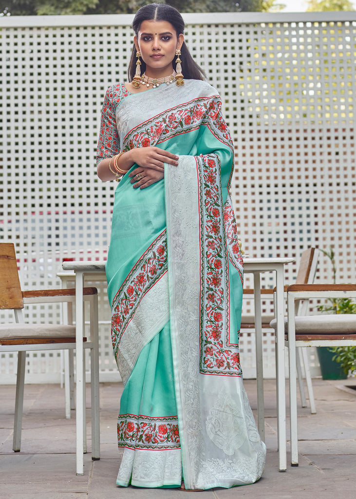 LAKE BLUE SAREE WITH BEAUTIFUL PRINT AND EMBROIDERY