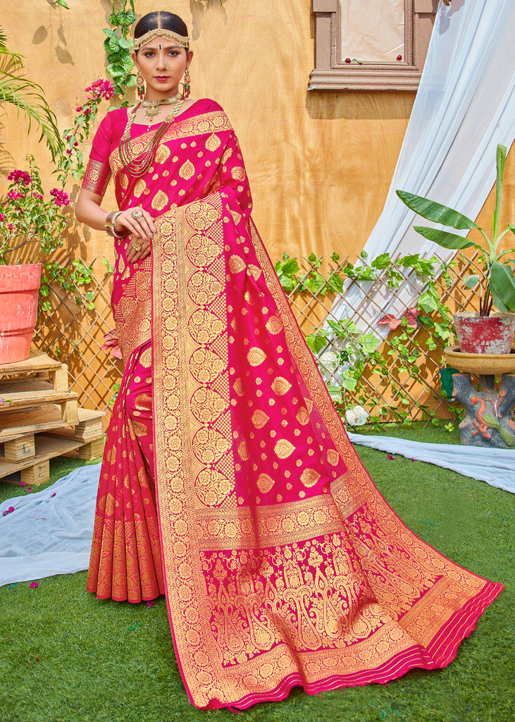 ROYAL GOLDEN PINK WOVEN BANARASI SILK SAREE