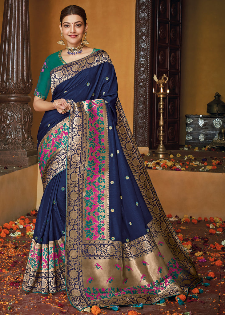 ROYAL BLUE WOVEN SILK SAREE WITH DESIGNER BLOUSE