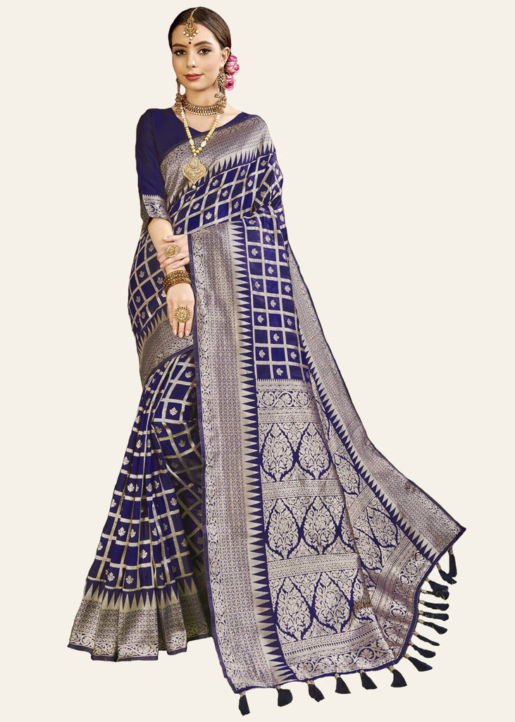ROYAL BLUE WOVEN BANARASI SILK SAREE